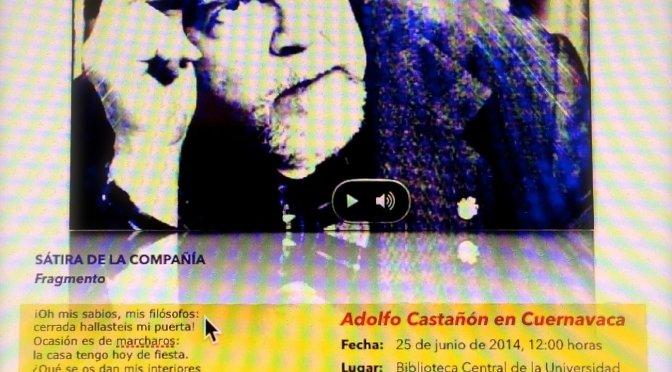 Adolfo Castañón en Cuernavaca. Radio Universidad Autónoma del Estado de Morelos