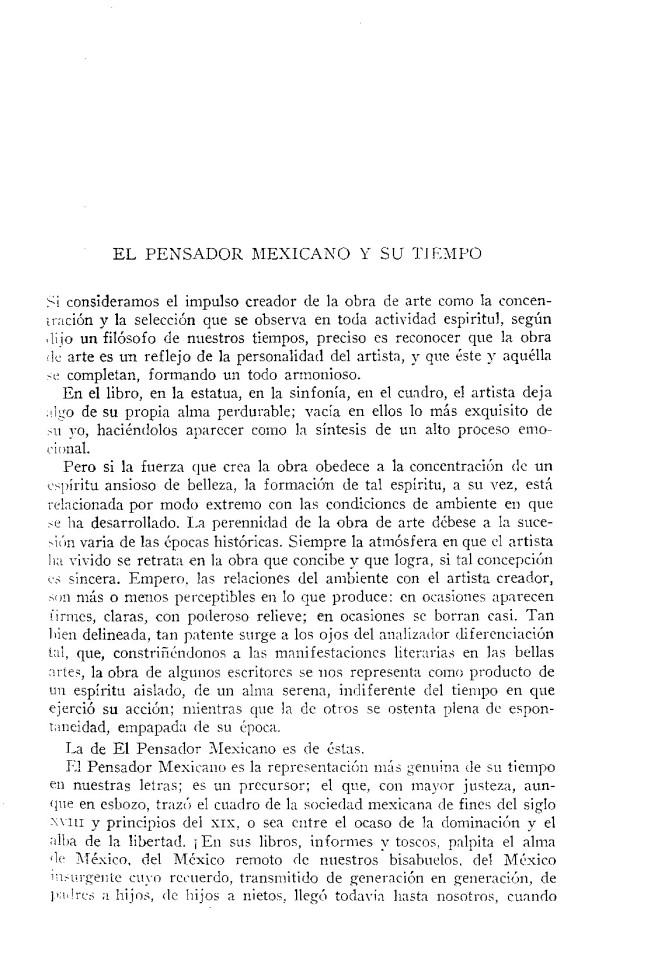 El pensador mexicano y su tiempo. Carlos González Peña. Agosto, 1910