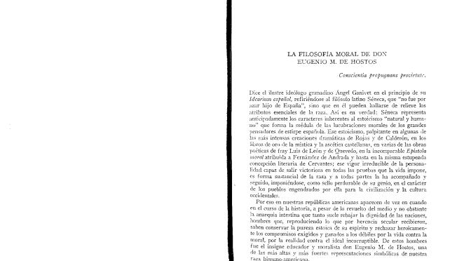 La filosofía moral de Don Eugenio M. de Hostos. Antonio Caso. México, 25 de julio de 1910