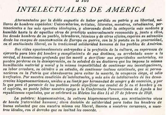 Llamamiento a los intelectuales de América. Conferencia Panamericana de Ayuda a los Republicanos Españoles, México, 1940